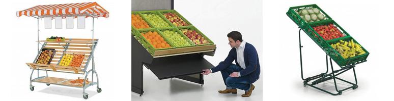 Торговое оборудование для фруктов и овощей - стеллажи и развалы